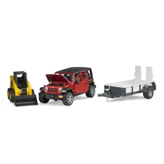 BRUDER - Jeep WRANGLER Unlimited Rubicon avec remorque et chargeur Caterpillar - 33 cm