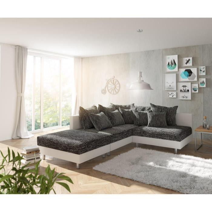 Canapé d'angle Clovis canapé d'angle gauche canapé modulable blanc noir Avec tabouret et pouf