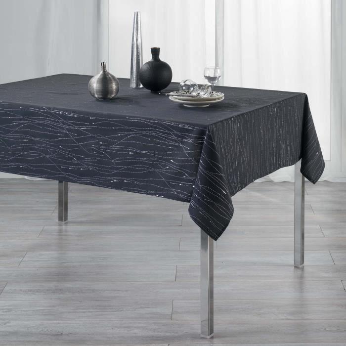 CDaffaires Nappe rectangle 140 x 300 cm polyester applique filiane Anthracite