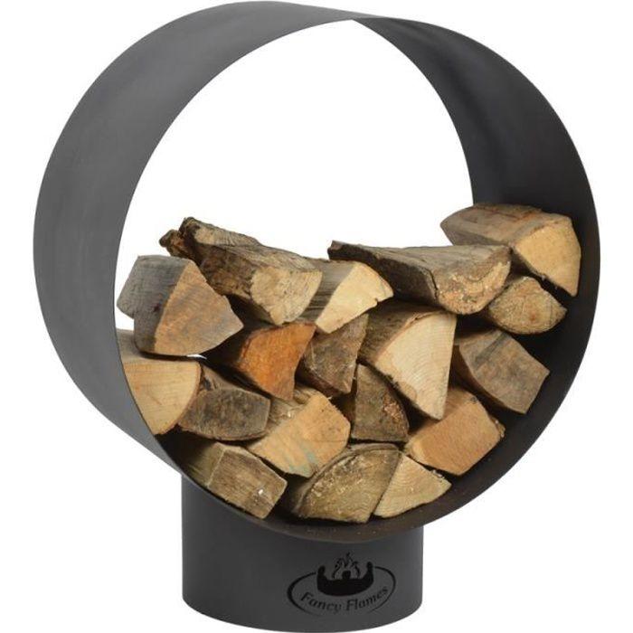 Range buche cylindrique en métal, pour le stockage du bois, 58 cm x 38 cm diamètre 72 cm