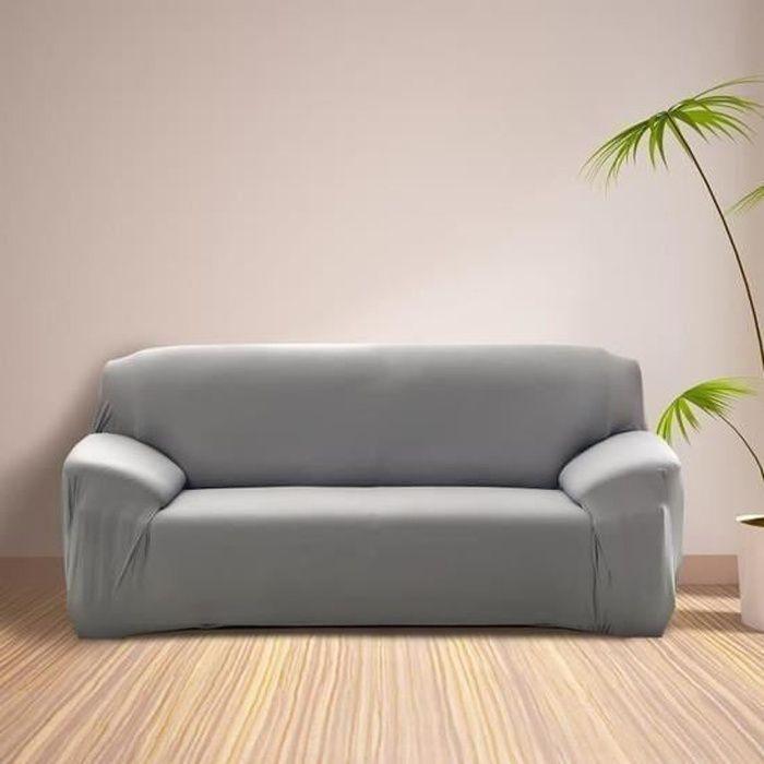 Housse de Canapé 3 Places avec Accoudoir Extensible - Revêtement de Canapé Pour salon chambre - GRIS - MONDEER