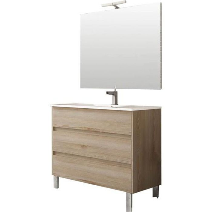 Ensemble de salle de bain TENERIFE 100cm bois clair
