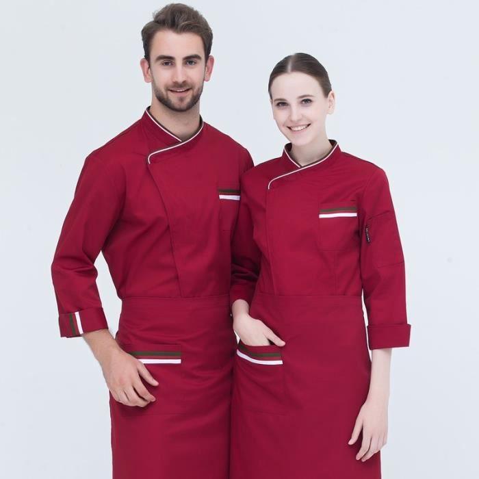 Zencart Manteau De Chef Blanc à Manches Longues Pour Hommes Et Femmes Café à Rayures Vêtements De Travail Veste De Cuisine