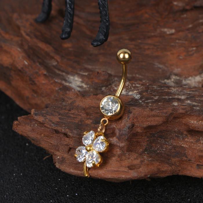 Broche de nombril Boucle de en acier inoxydable de en diamant (Style 1) anneau de piercing bijou piercing