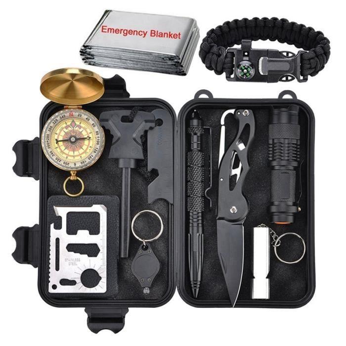 Kit de survie 11 en 1, Outil de survie en plein air avec bracelet de survie, couteau pliant, boussole, couverture d'urgence,
