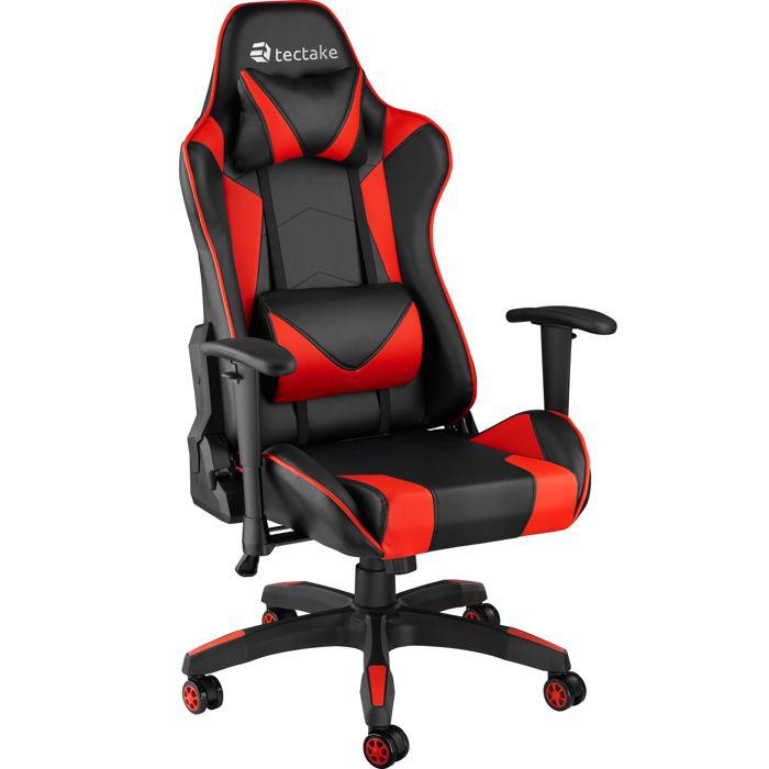 TECTAKE Chaise de Bureau Design Gamer ergonomique confortable avec Accoudoirs réglables et Coussins de nuque et dos Noir Rouge