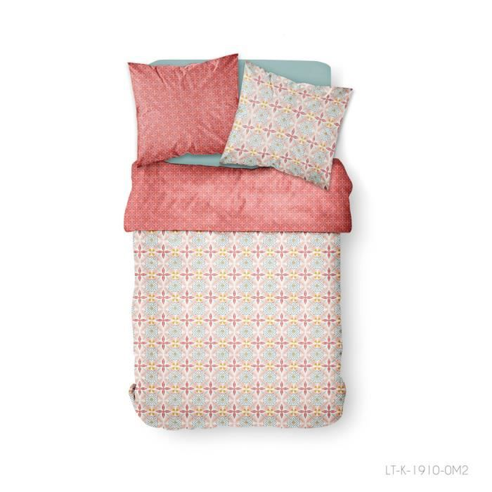 Parure de lit 2 personnes 240X260 Coton imprime rouge Art deco SUNSHINE
