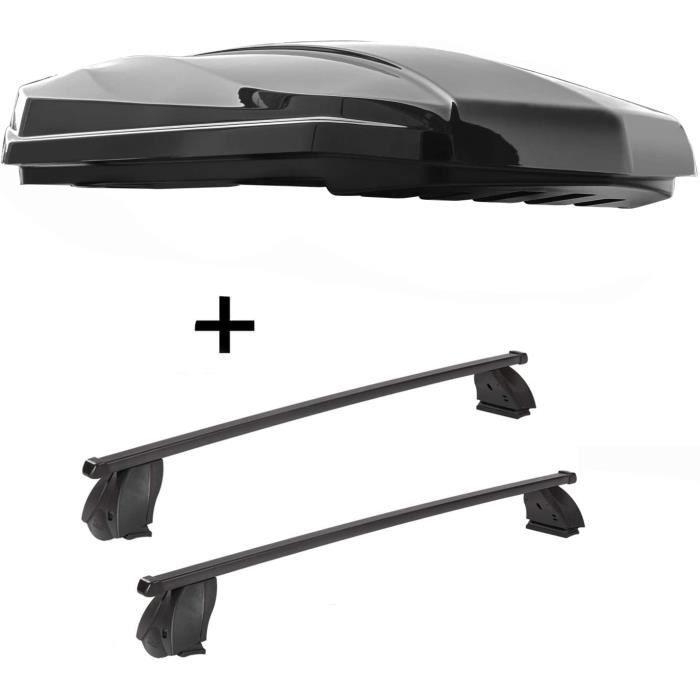 VDP Coffre de Toit Grève 440 Litre Noir Brillant + Galerie K1 Medium Compatible Avec Mercedes Cla (C117) (4Türer) 13-15