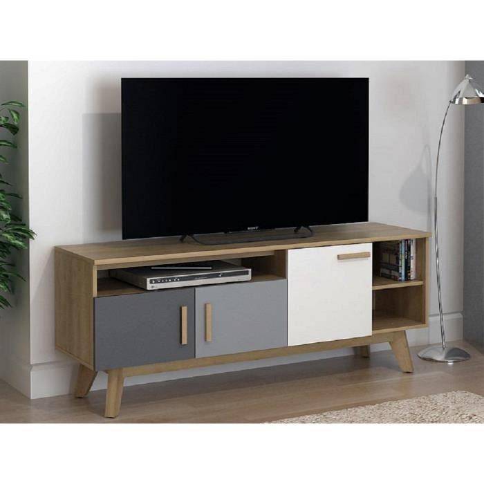 Meuble TV AURORA - 3 portes, 3 niches - Multicolore