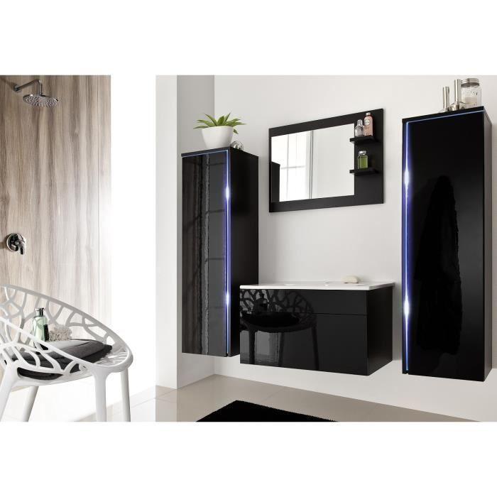 Salle de bain complète DREAM noir façade laqué, brillante high gloss + led  + vasque en céramique + miroir. Meuble design suspendu