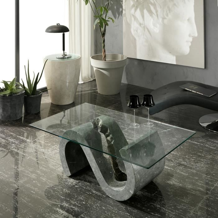 Table basse de salon en pierre fossile et verre jordan achat vente table - Table basse de salon en verre design ...