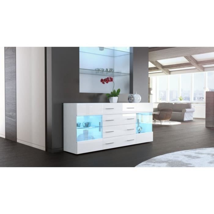 buffet design laqu blanc portes vitr es avec led achat vente buffet bahut buffet design. Black Bedroom Furniture Sets. Home Design Ideas