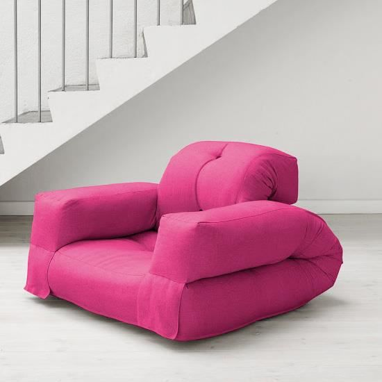 fauteuil convertible hippo 90 futon rose achat vente. Black Bedroom Furniture Sets. Home Design Ideas