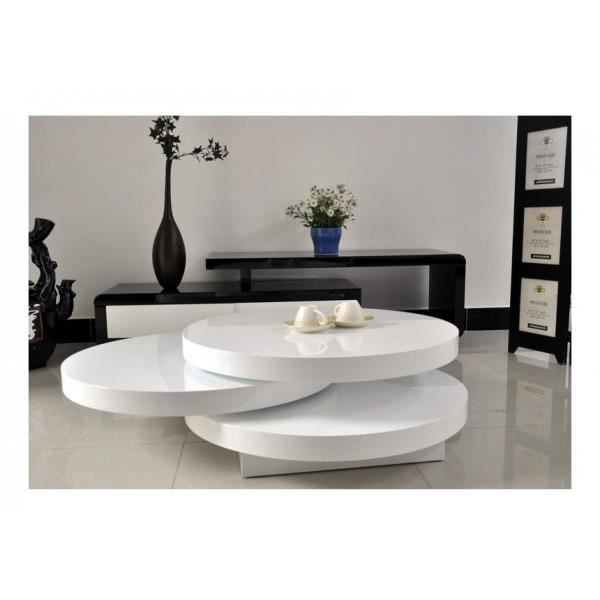 Table basse round couleur blanc laqu achat vente for Table basse ronde blanc