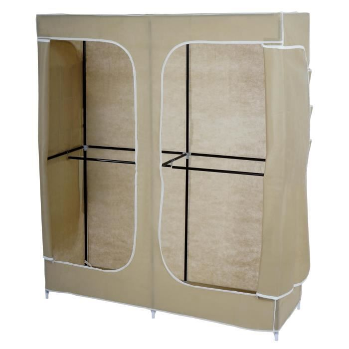 armoire penderie pliante tissu de camping 173x150x50cm cr me achat vente penderie. Black Bedroom Furniture Sets. Home Design Ideas