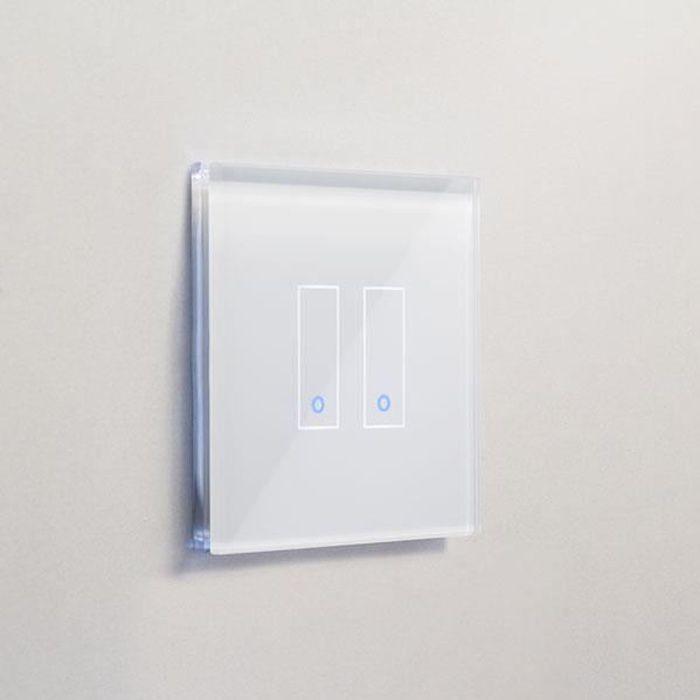 IOTTY Interrupteur double WiFi intelligent verre blanc tactile compatible Google Home  Alexa