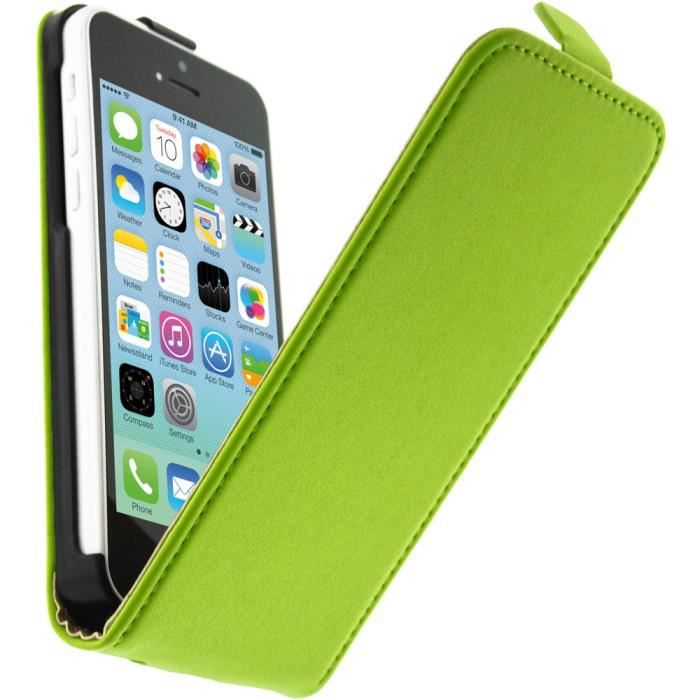 Housse etui clapet cuir apple iphone 5c vert achat for Housse iphone 5c