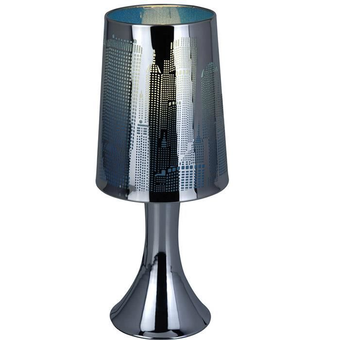 lampe de chevet tactile new york bleu achat vente. Black Bedroom Furniture Sets. Home Design Ideas