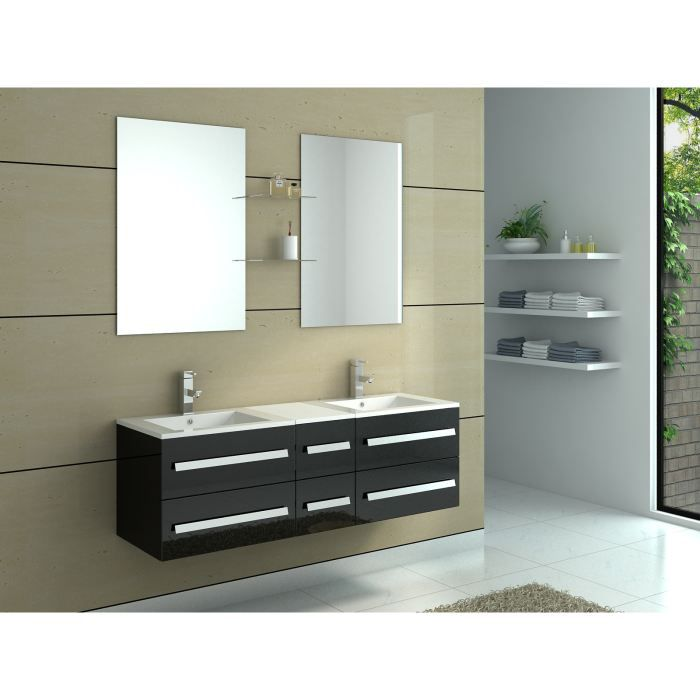 meuble de salle de bain en bois avec double vas achat. Black Bedroom Furniture Sets. Home Design Ideas