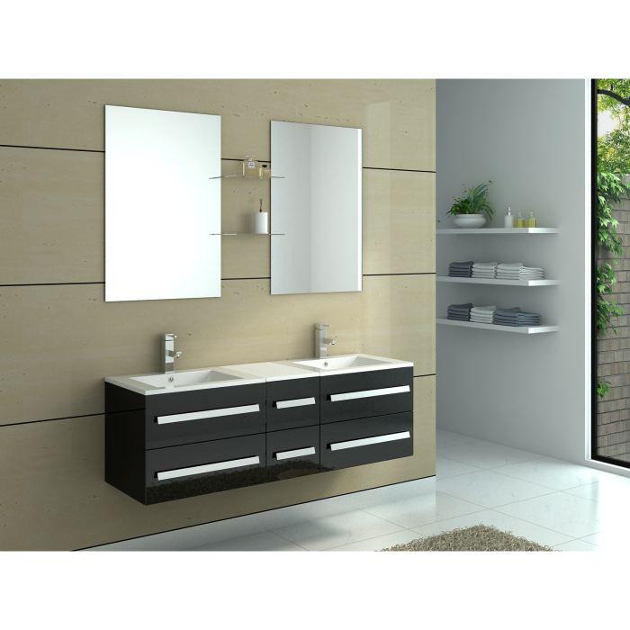 Meuble salle de bain bois et vasque noire