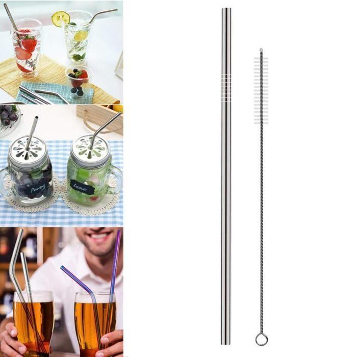 1 nettoyage Brosse Cocktail Pailles Nettoyage Brosses 5 potable Tiges en Acier Inoxydable