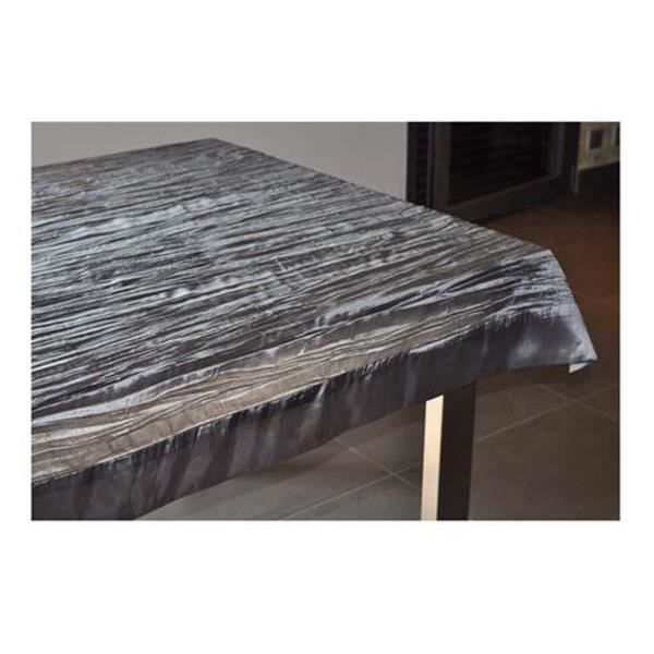 Nappe froiss e et carr e 150 x 150 cm gris achat vente for Table carree 150 x 150