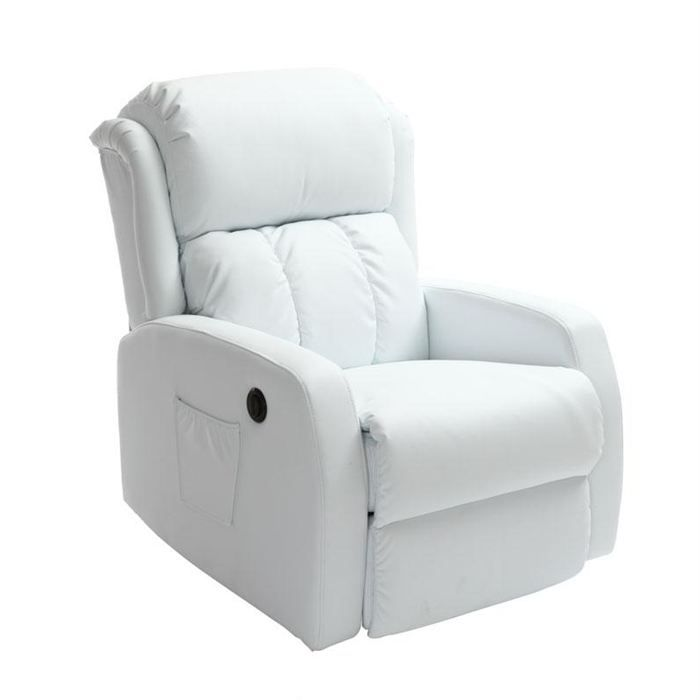 fauteuil relax lectrique massant blanc galler achat. Black Bedroom Furniture Sets. Home Design Ideas