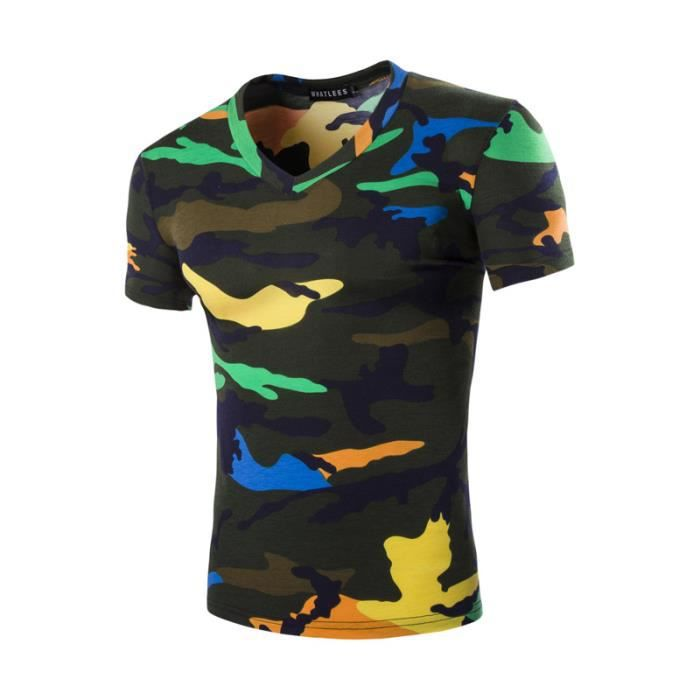 tee shirt homme arm e camouflage marque col v vert fonc achat vente t shirt soldes. Black Bedroom Furniture Sets. Home Design Ideas
