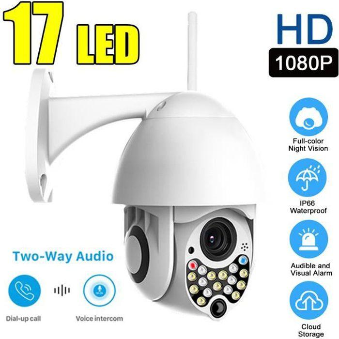 Mini-cam/éra de Surveillance ext/érieure D/étecteur de Mouvement Vision Nocturne IR Zoom Optique 4X Audio bidirectionnel /étanche Logement de Carte SD Externe Dericam Cam/éra d/ôme IP 1080P PTZ WiFi