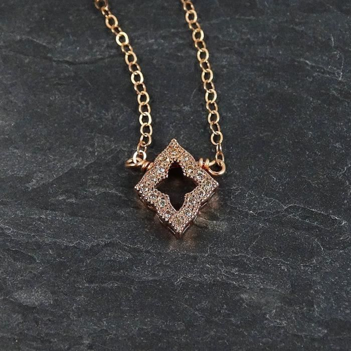 Womens Rose Gold Filled Cubic Zirconia Crystal Pendant Chain Necklace APVWB