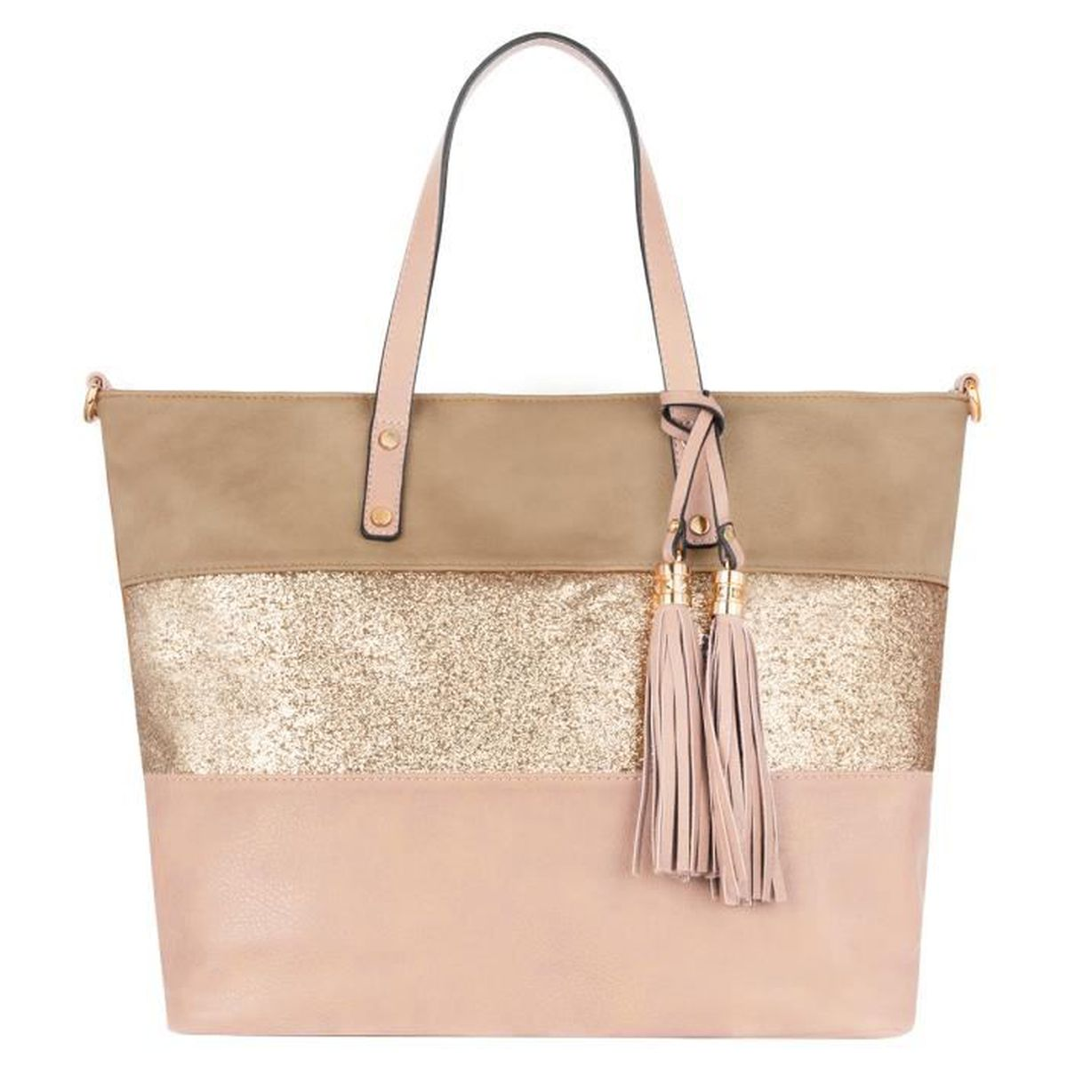 CRAZYCHIC Grand Sac à Main Cabas Paillette Cuir PU Femme Rose
