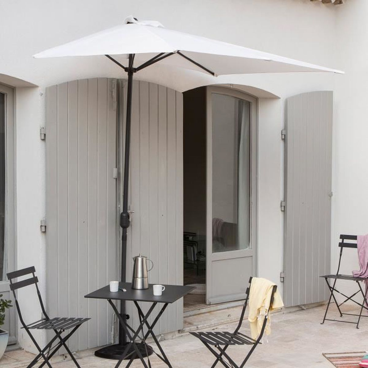 demi parasol de balcon rectangulaire en aluminium avec manivelle 230x130cm circle blanc sans. Black Bedroom Furniture Sets. Home Design Ideas