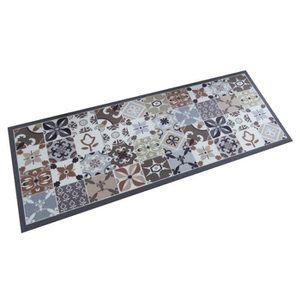 TAPIS Tapis gris style carreaux de ciments 45 x 120 cm G