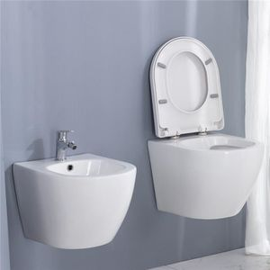 WC - TOILETTES Toilette Suspendue en Céramique Blanc avec Abattan