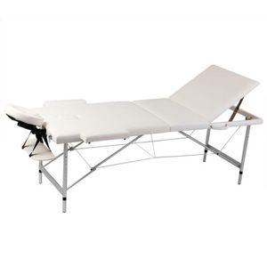 Table de massage Table de Massage Pliante 3 Zones Crème Cadre en Al