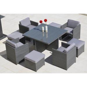 Salon de jardin 9 pièces coloris gris - Achat / Vente ...