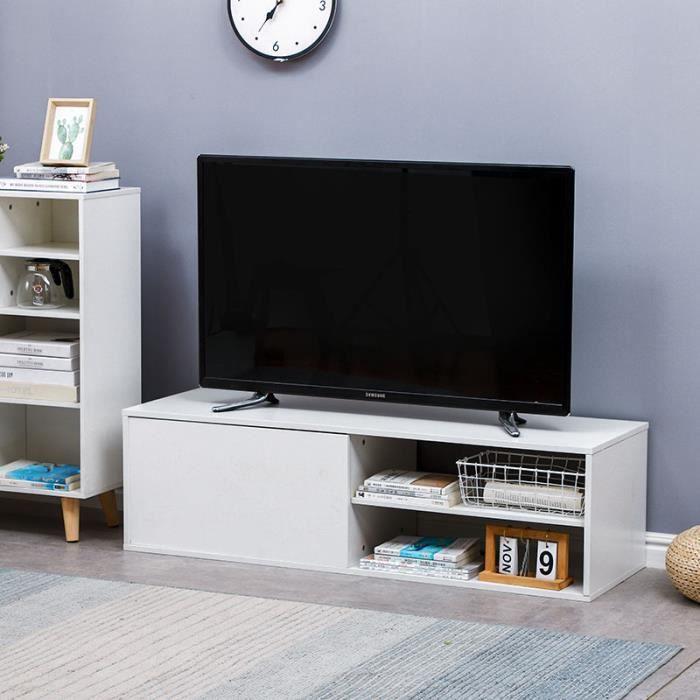 LAIZERE Meuble TV contemporain blanc - L 130 cm