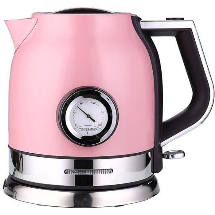 Rétro Bouilloire en inox rose - 1500W Capacité 1.8L-avec thermomètre