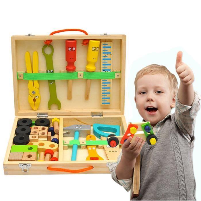 Outils en bois jouets semblant jouer ensemble d'accessoires de boîte à outils Construction éducative_per2962