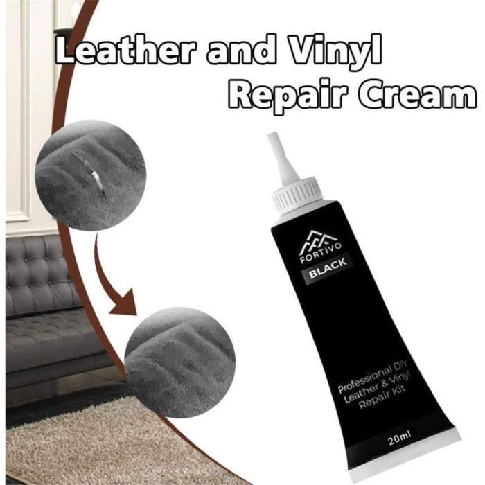 Leather Repair Gel de réparation de cuir crème 20 ml Crème de réparation pour sièges de voiture, canapés, manteaux en cuir Noir