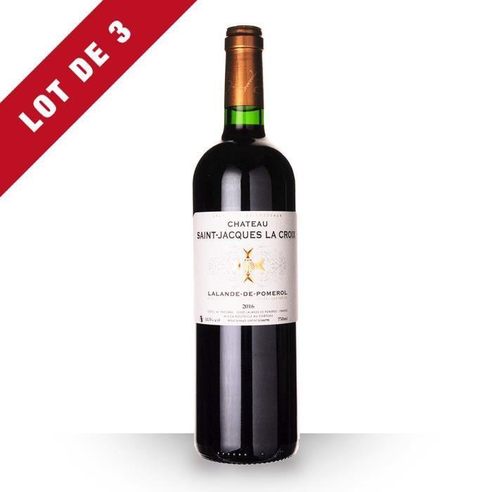 Lot de 3 - Château Saint-Jacques la Croix 2016 AOC Lalande-de-Pomerol - 3x75cl - Vin Rouge