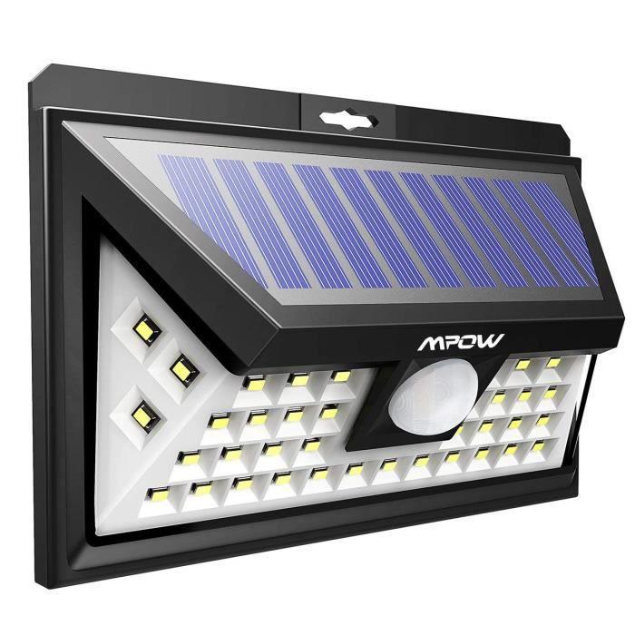 40 LED Lampe Solaire Extérieur Etanche Détecteur de Mouvement Eclairage Extérieur 270 ° Grand Angle/LED Solaire pour Pati