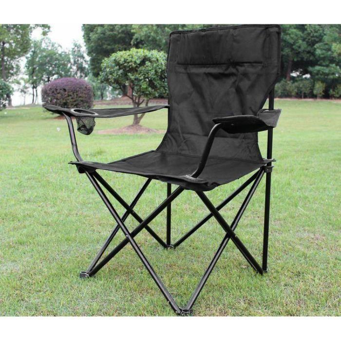 Fauteuil portable NOIR Chaise de camping pêche pilante @ BonAchat
