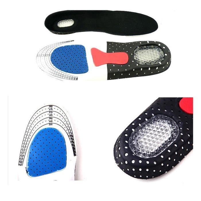 Paire Femme Homme Semelle Gel Absorption Choc Confort Chaussures Intérieur S 25.5 cm
