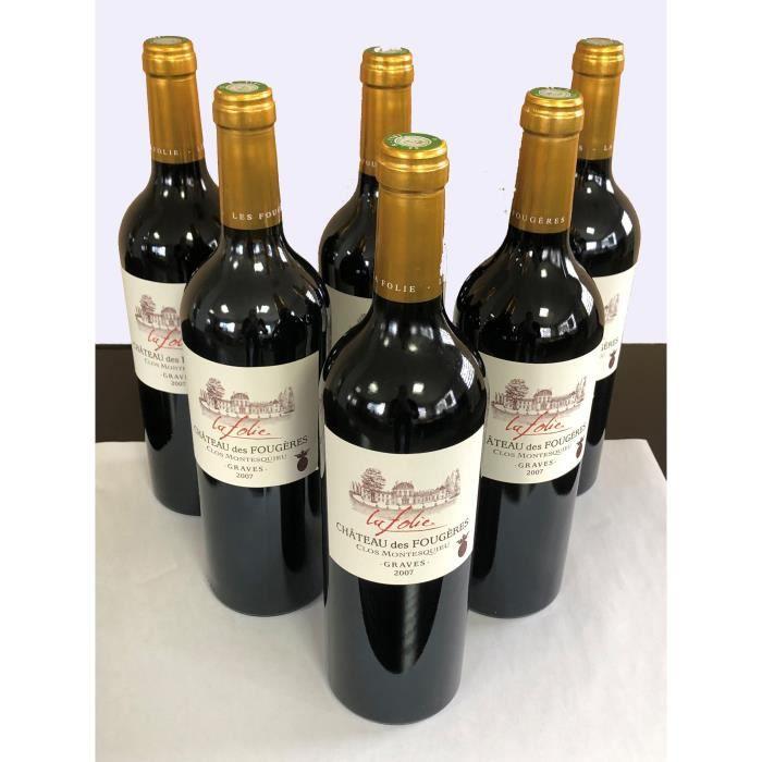 Lot de 6 bouteilles Château des Fougères - Clos Montesquieu- La Folie 2007- Graves - Vin rouge