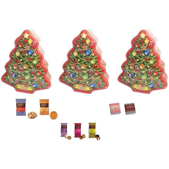 Boite sapin de Noël en métal 35 pièces garnie de biscuits et de chocolats Monbana - Lot de 3