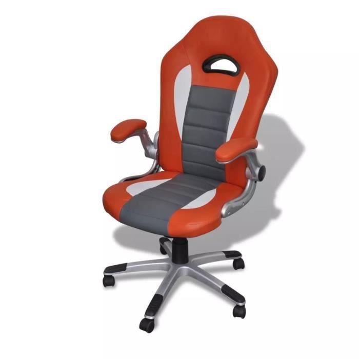 CHEZZOE Fauteuil Relaxation Style - Fauteuil Relax Fauteuil de repos en similicuir moderne de bureau design orange ☺76876
