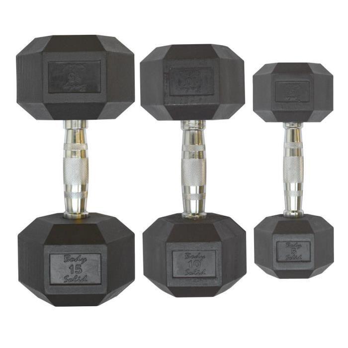 Paires d'haltère Body-Solid Hexagonale en caoutchouc 20 kg - gris/noir - TU