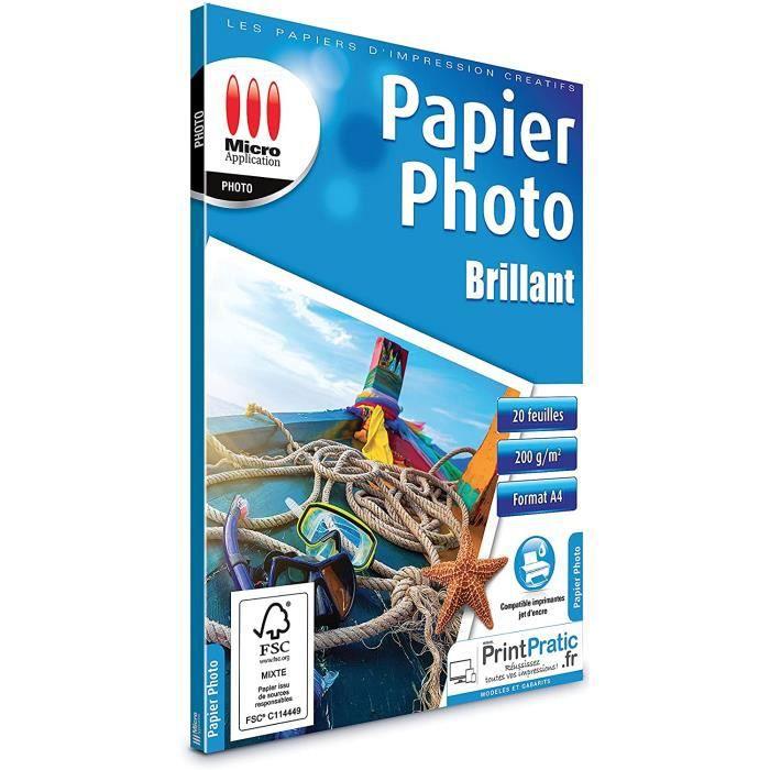 Micro Application Papier photo brillant 200g-m² - 20 feuilles A4 - 21x29,7 cm blanc 538071