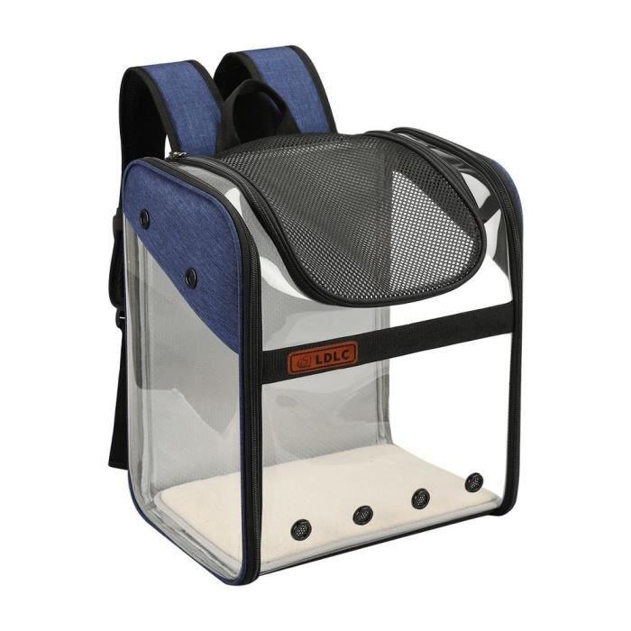 Sac de transport,Sac à dos chat respirant pour chien Sac Transparent pour chien, sac pour chat en PVC- Type dark blue-34x26x40cm